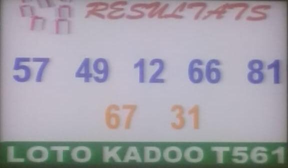 Numéros gagnants du loto Kadoo tirage 561