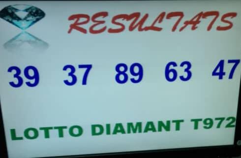 Numéros gagnants du lotto Diamant tirage 972