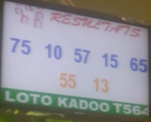 Numéros gagnants du lotto Kadoo tirage 564.