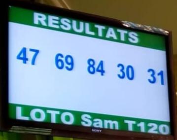Numéros gagnants du lotto Sam tirage 120