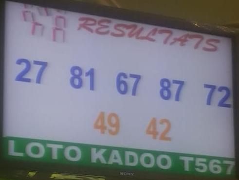 Numéros gagnants ou résultats du lotto Kadoo tirage 567