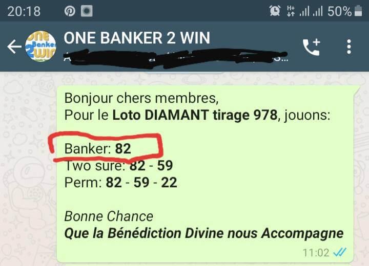 Banker gagné pour le Lotto Diamant tirage 978