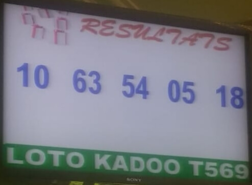 Résultats ou Numéros gagnants du lotto Kadoo tirage 569 de ce vendredi 15 Novembre 2019.