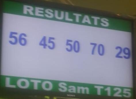 Numéros gagnants du lotto Sam tirage 125