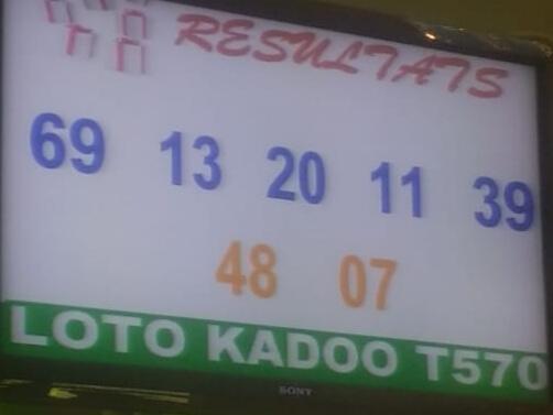 Numéros gagnants du lotto Kadoo tirage 570
