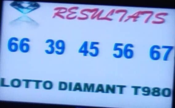 Numéros gagnants ou résultats du lotto Diamant tirage 980.