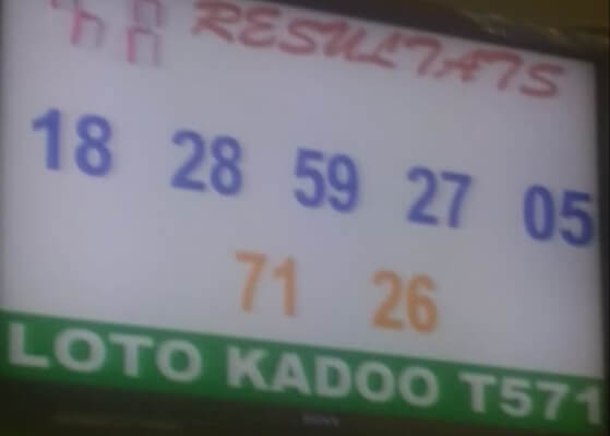 Numéros gagnants pour le loto Kadoo tirage 571