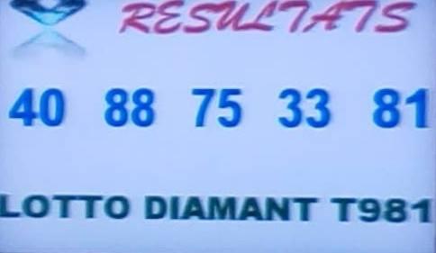 Résultats loto Diamant tirage 981