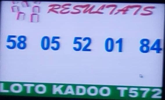 Numéros gagnant lotto Kadoo tirage 572