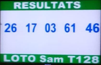 Numéros gagnants ou résultats du lotto Sam tirage 128