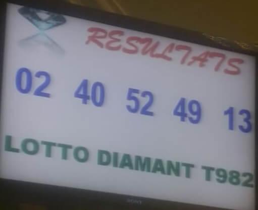 Résultats ou numéros gagnants du lotto Diamant tirage 982