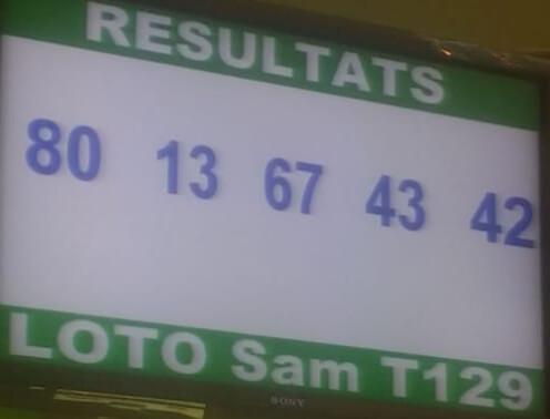 Numéros gagnants du loto sam tirage 129