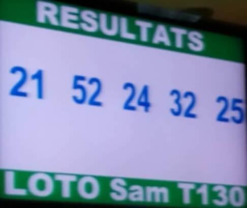 Les résultats ou numéros gagnants du lotto Sam tirage 130