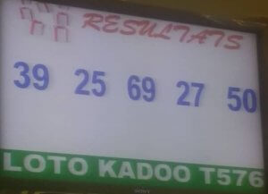 Numéros gagnants ou résultats du loto Kadoo tirage 576