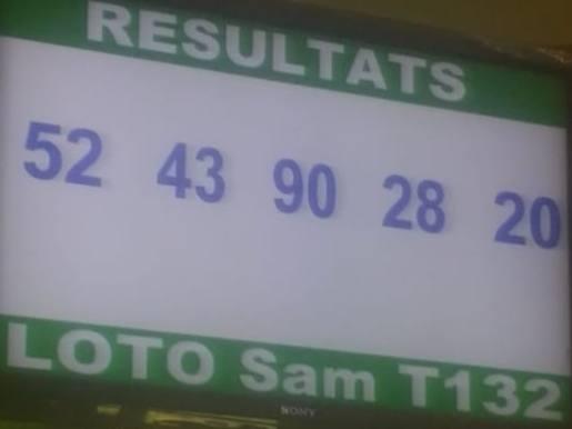 Numéros gagnants ou résultats du lotto Sam tirage 132