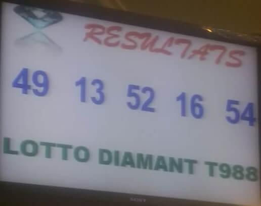 Résultats du loto Diamant tirage 988