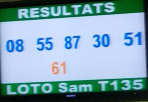 Numéros gagnants ou résultats du loto Sam tirage 134
