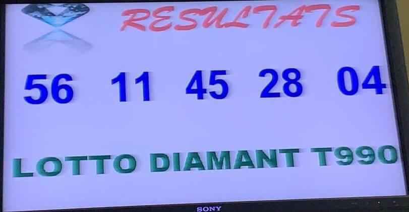 Résultats ou numéros du lotto Diamant tirage 990