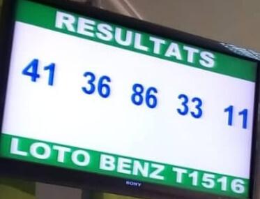 Numéros gagnants ou résultats du lotto Benz tirage 1516.