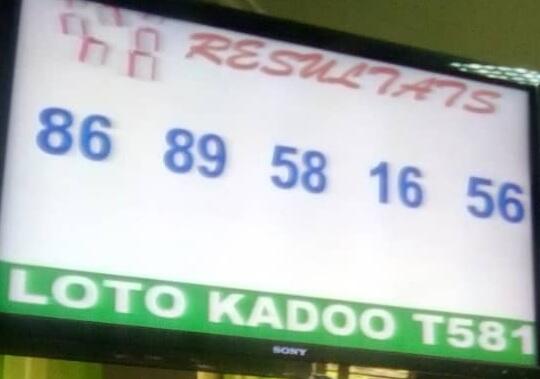 Numéros gagnants du lotto Kadoo tirage 581