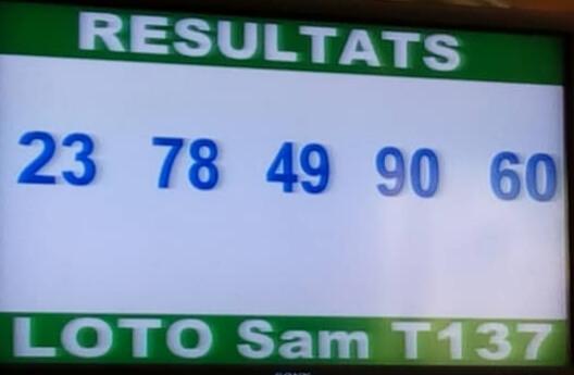 Numéros gagnants ou résultats du lotto Sam tirage 137