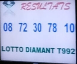 Numéros gagnants du lotto Diamant tirage 992