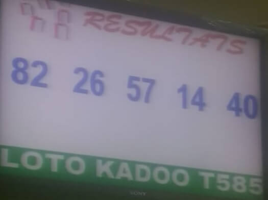 Numéros gagnants ou Résultats du loto Kadoo tirage 585