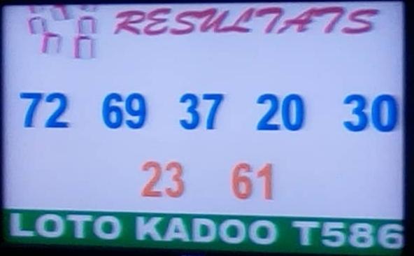 Numéros gagnants du lotto Kadoo tirage 586