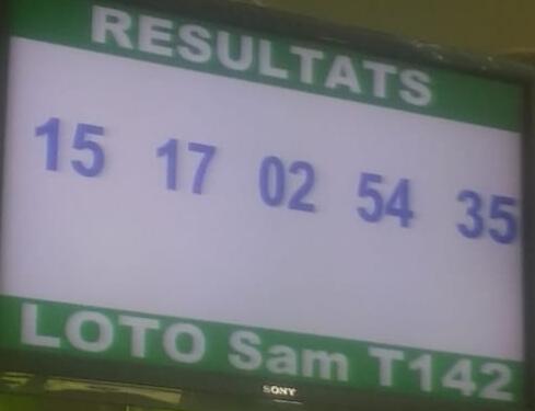 Résultats ou numéros gagnants du loto Sam tirage 142