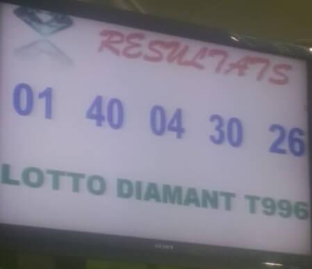 Résultats du lotto Diamant tirage 996