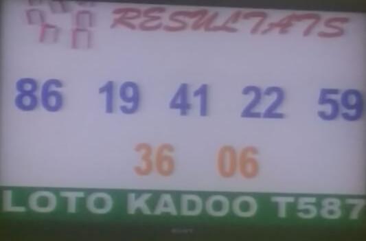 Résultats ou numéros gagnants du lotto Kadoo tirage 587