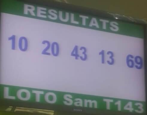 Numéros gagnants lotto Sam tirage 143