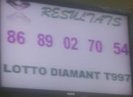 Numéros gagnants ou résultats du lotto Diamant tirage 997