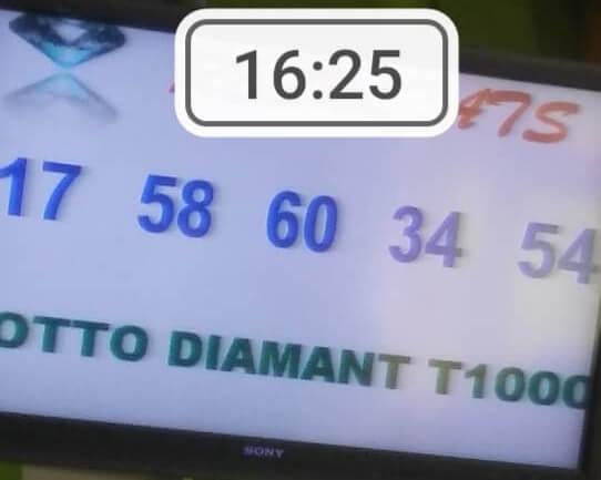 Numéros gagnants du loto Diamant tirage 1000 17   58   60   34   54