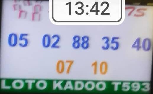 Numéros gagnants du loto Kadoo tirage 593