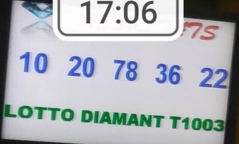 Numéros gagnants lotto Diamant tirage 1003: 10 20 78 36 22