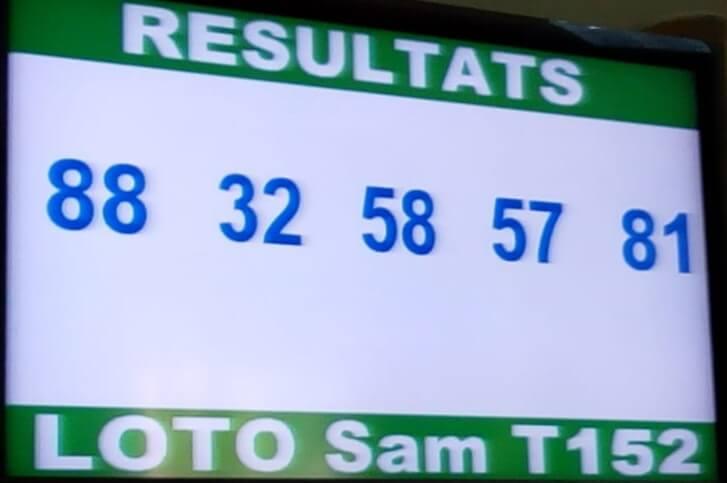 Numéros gagnants lotto Sam tirage 152