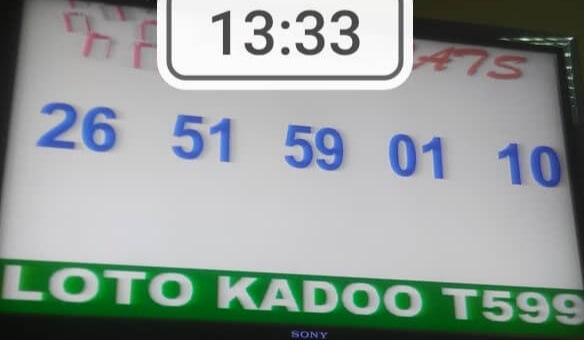 Résultats ou Numéros gagnants du loto Kadoo tirage 599 Kadoo Tir 599 ==> 26 - 51 - 59 - 01 - 10