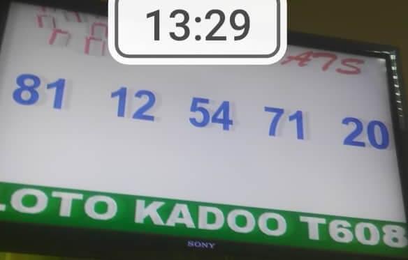 Numéros gagnants du loto Kadoo tirage 608