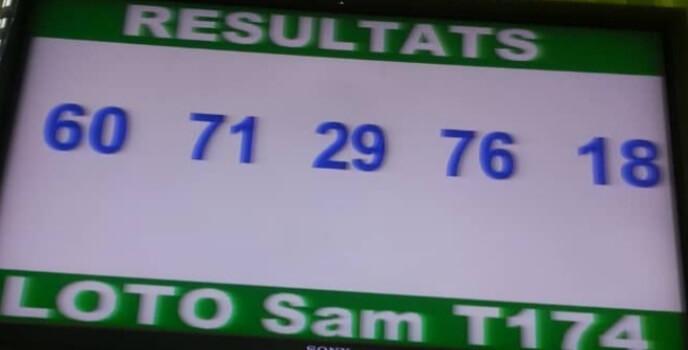 Résultats du loto Sam tirage 174