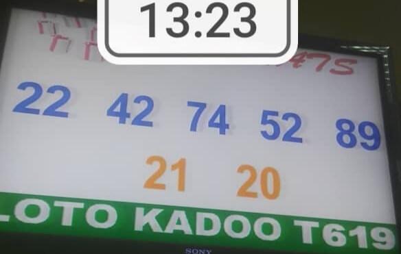 Résultats ou Numéros gagnants du tirage 619 du loto Kadoo