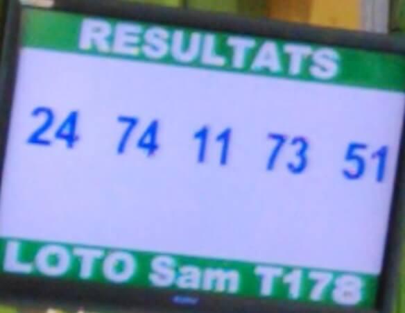 Numéros gagnants du loto SAM tirage 178
