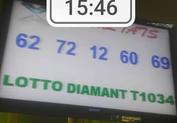 Numéros gagnants lotto Diamant  tirage 1034