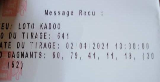 Numéros gagnants du loto Kadoo tirage 641