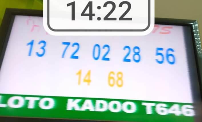 Numéros gagnantsdu loto Kadoo tirage 646