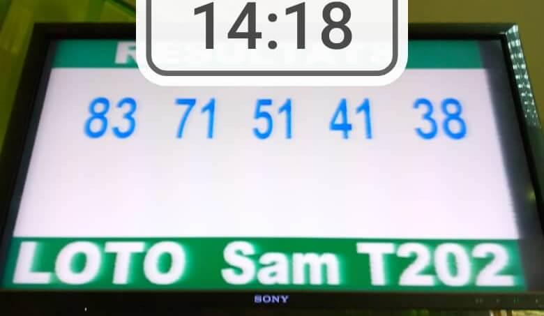 Résultats ou numéros gagnants du loto Sam tirage 202