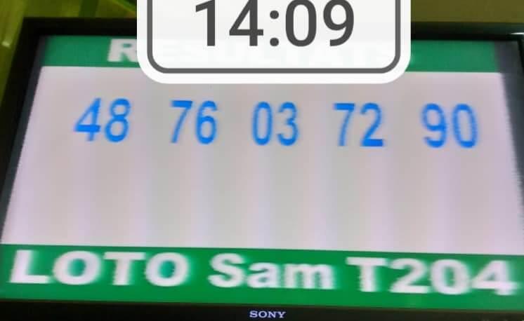 Résultats ou Numéros gagnants du loto SAM tirage 204
