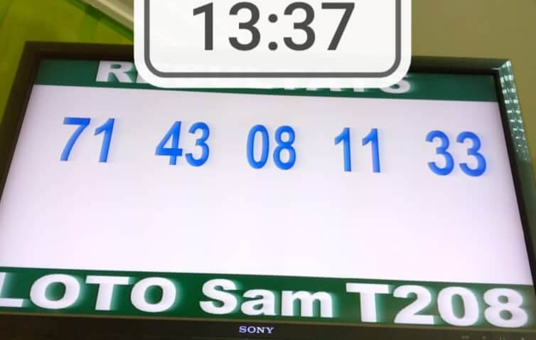 Résultats du loto Sam tirage 208