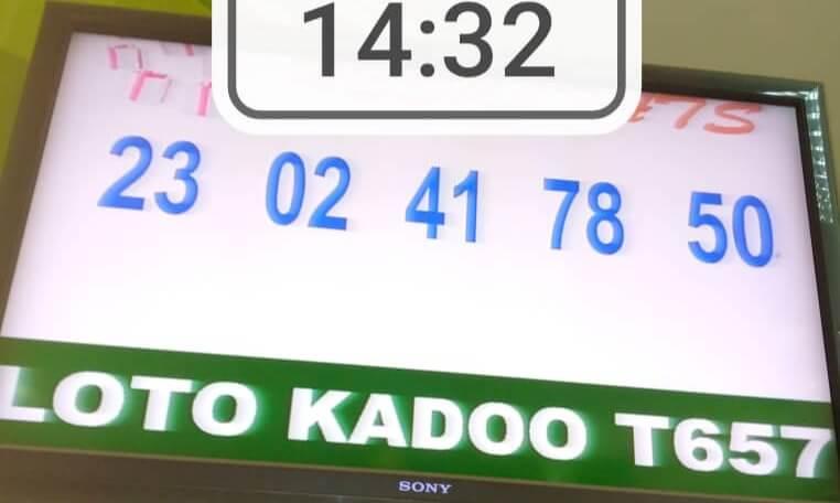 Résultats du loto Kadoo tirage 657