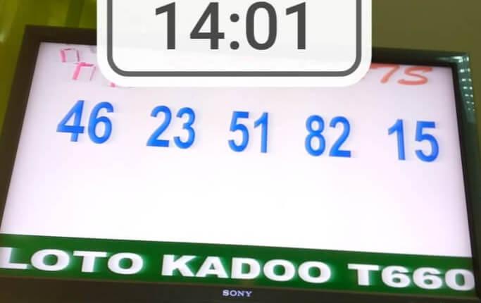 Les Résultats ou numéros gagnants du loto Kadoo tirage 660